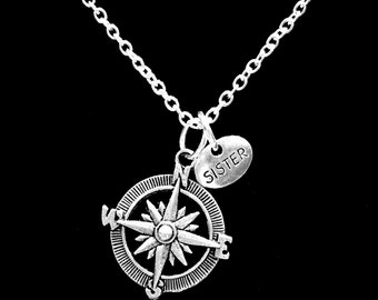 Sister Gift, Compass Long Distance Necklace, Nautical Direction Travel Sister Partners In Crime Gift Necklace