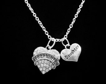 Crystal Firefighter Daughter Gift Necklace, Heart Gift Firefighter's Fireman Charm Necklace