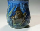 Turtle Mug,Blue Mug with turtle,Green Mug,Large Blue and green mug,ready to ship,unique mug,sea life mug,turtle pottery,slip trailed pottery