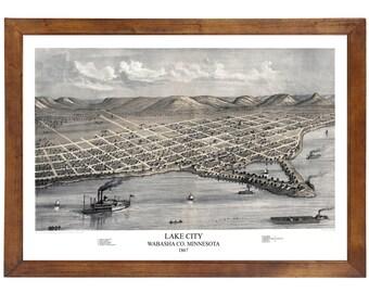 Lake City, MN 1867 Bird's Eye View; 24x36 Print from a Vintage Lithograph