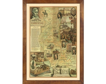 Lincoln Memorial Trail ... Map Published in 1940; 24x36 Print on Photo Paper