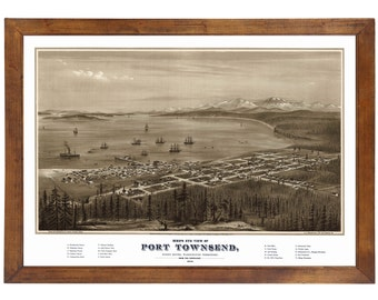 Port Townsend, WA 1878 Bird's Eye View; 24x36 Print from a Vintage Lithograph