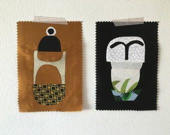 Fabric collage sampler pair No.0119