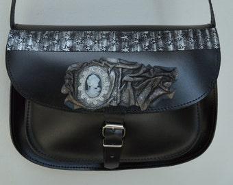 Sales Unique Leather Bag-Handmade Bag-Shoulder Bag-Evening Bag-Greek bag-Black leather bag