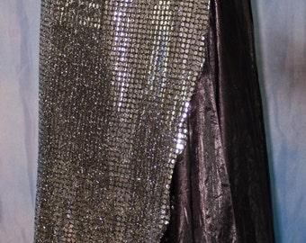 Glitz Silver Dot Straight Wrap Panel Skirt
