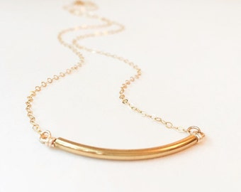 Curved Gold Bar Necklace- Thin Gold Chain Necklace- Horizontal Bar Necklace- Layering Necklace- Gold Filled Necklace- Minimalist Necklace
