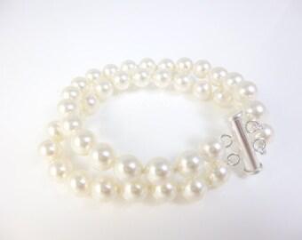 Multistrand Bracelet, Pearl Bracelet,Handknotted pearls,  Swarovski Pearls, sterling silver, Bridal Jewelry