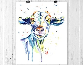 GOAT PRINT, Farm art, goat artt, country decor, country style, farm decor, modern country, goat watercolour, goat watercolor, farm animal