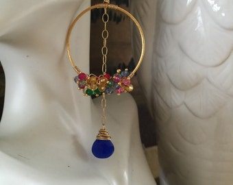 Royal blue chalcedony gold filled hoops