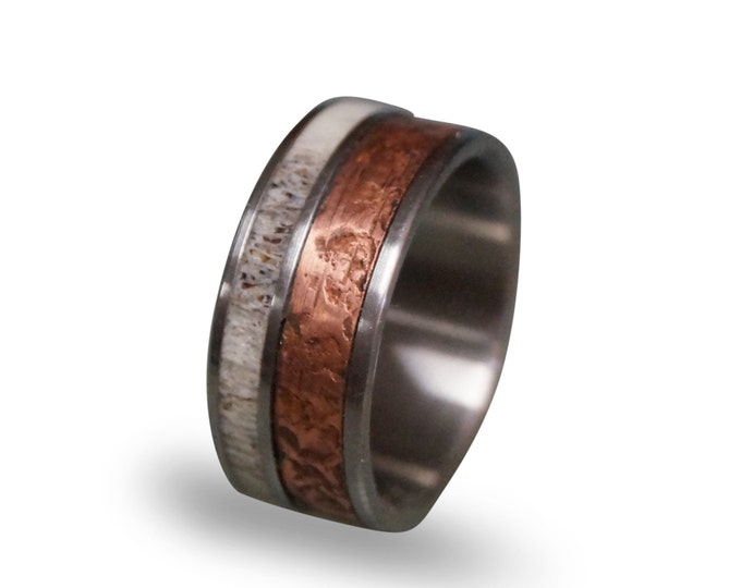 Patina Copper Wedding Band For Men, Titanium Ring, Bone Ring, Titanium Band