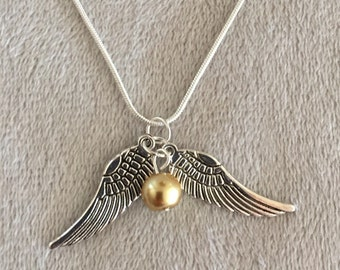 """Golden Snitch Necklace on 20"""" Silver Snake Chain Snitch Pendant Quidditch Hogwarts Wizard Seeker Gryffindor Snitch Jewelry Potterhead"""