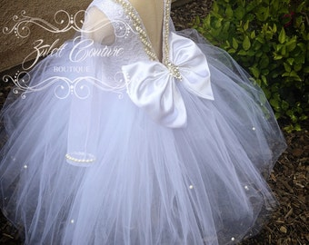 Birthday Dress - Baptism Dress - White Girl Dress - Lace Dress - Baptism Dress - Valencia Dress by Zulett Couture