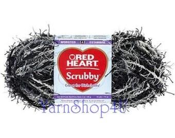 MARBLE Red Heart Scrubby Yarn, Dishcloth yarn, Marble scrubby yarn, Black scrubby, Black variegated scrubby yarn, Red Heart scrubber yarn