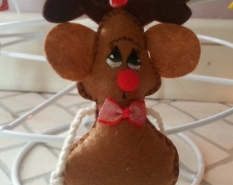 Felt Christmas Ornament * Rudolf * Handmade Decoration Doll
