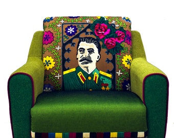 This Armchair gathered piece by piece from all corners of the world, recycled furniture, midcentury