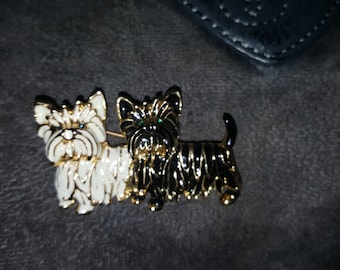 Gorgeous Gold Tone Two Yorkie Pin Brooch With One White Yorkie and One Black Yorkie - Green Rhinestone Eyes Black and White Enamel