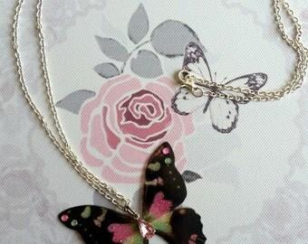 Beautiful Black, Pink & Green Butterfly Pendant