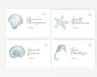 sea shell place card etsy. Black Bedroom Furniture Sets. Home Design Ideas