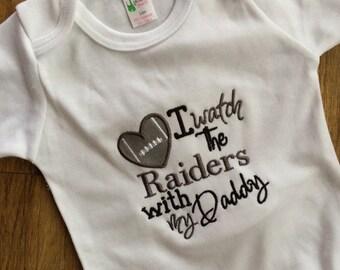 Raiders bodysuit, Watch Raiders with Daddy, Raiders Baby