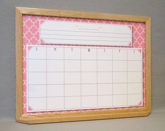 flamingo pink quatrefoil dry erase wall calendar pinkwhite moroccan tile print framed whiteboard calendar perpetual calendar organizer