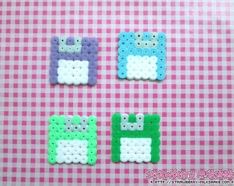 Video Game Hama: Floppy Discs (Magnet / Ornament / Hair Clip / Earrings / Necklace)