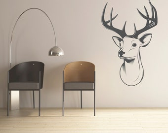Stag Head Decal Vinyl Wall Decal, Home Decor