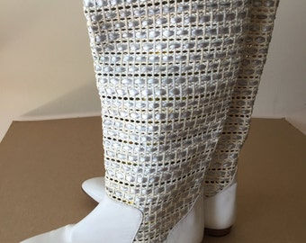 Vintage 80s tall boot,leather, white, made in Italy