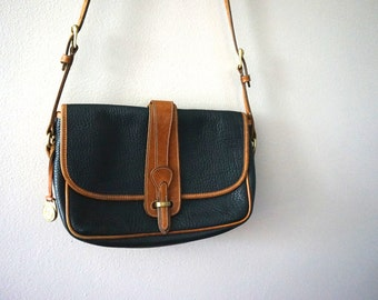 80s Dooney & Bourke All Weather Leather// Vintage Purse// Black and Brown Leather Purse// Cross body Purse