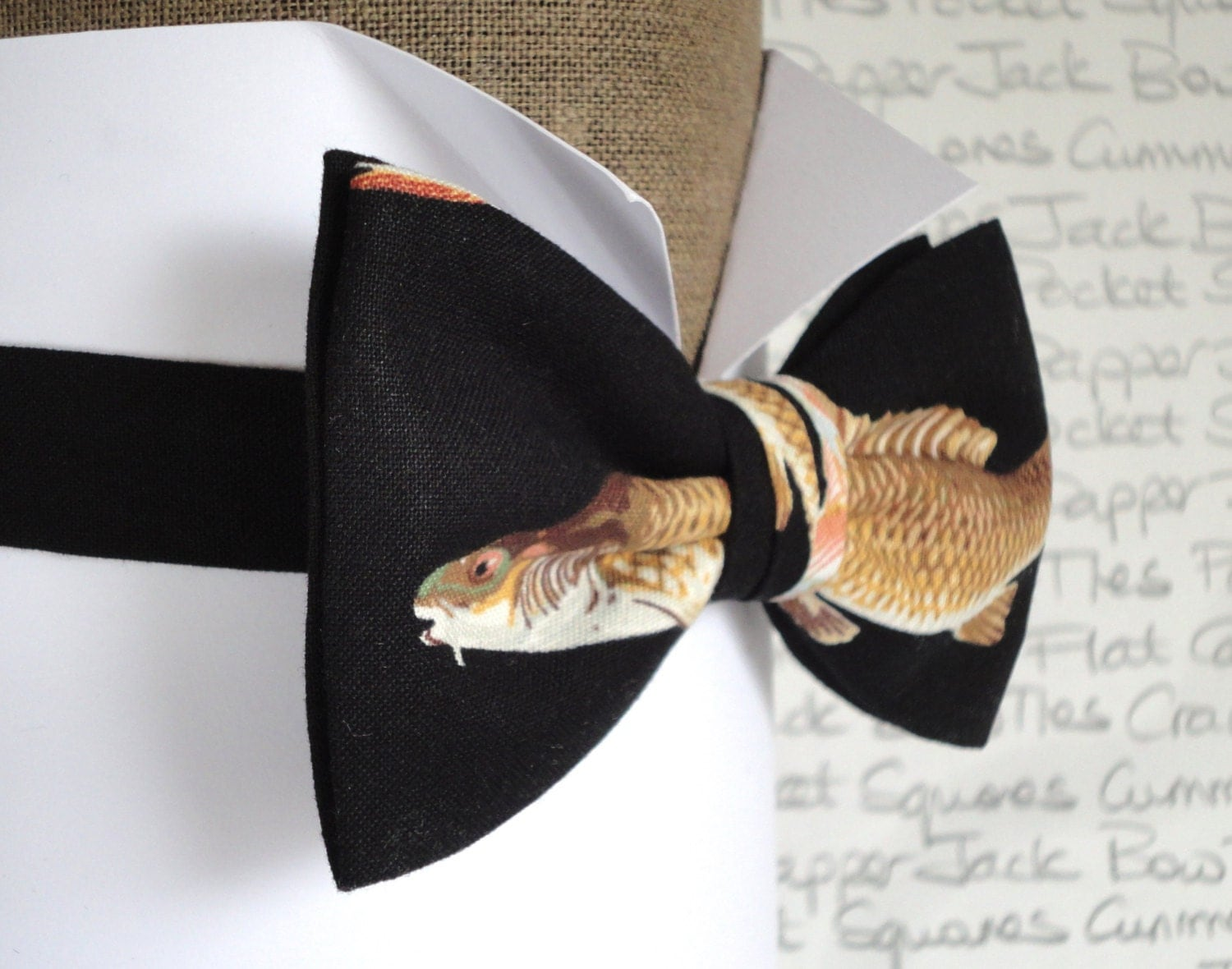 Fish print bow tie bow ties for men bow tie pre tied for Fish bow tie