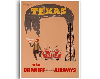 Texas Travel Poster Vintage Home Decor Print Retro xr1076
