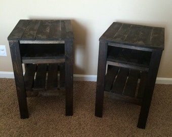 Set of two Night Stands End Tables Dark walnut solid wood construction