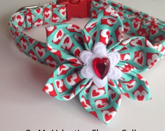 Be My Valentine Dog and Cat Flower Collar with Red and White Hearts