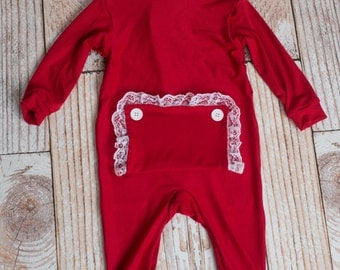 Christmas Little Girl's Long John Pajamas with Bottom Flap (NO NAME)