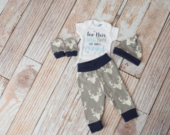 Newborn Coming Home Baby Deer Antlers/Horns Bodysuit, Hat, Scratch Mittens Set with Grey and Navy+ For this little boy we prayed Bodysuit