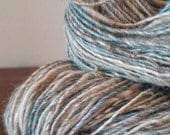 Handspun, Handdyed, corespun shetland wool, alpaca and silk yarn - SANDAY TEAL