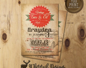 Vintage Car Birthday Invitation, Car Party Invite, Vintage Car Party Invitation, DIGITAL YOU PRINT