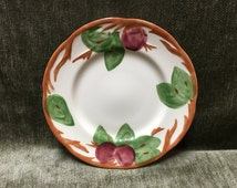 Franciscan Salad Plate, 1995 Johnson Bros., England Backstamp, Salad Plate, Red Apples, Green Leaves, Brown Edge