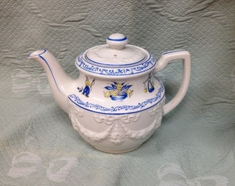 Blue and Yellow Dutch Design Teapot, Made in Japan, White Embossed Swags and Design on Lid, Blue Trim, Spout w Strainer