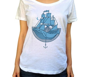 Whale Ship Scoop Neck Top - Hipster Folk Art Nautical TShirt -  Ladies Sizes (X-Small-2X)