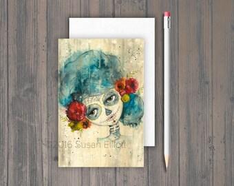 Dia de Los Muertos Shy Girl Postcard