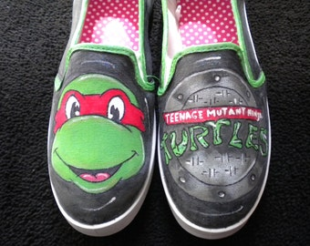 Ninja Turtle Inspired Hand Painted Sneaker Womens Size 9