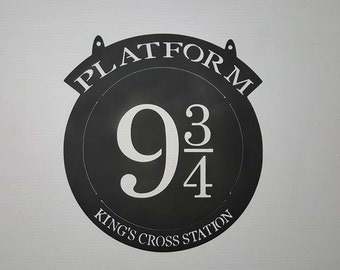Platform 9 3/4  Harry Potter METAL Inspired 16 inch Hogwarts Express Sign  Can be used with a plant hanger  P15  Solid Copper available