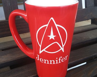 Large Red Personalized Star Trek Mug, Star Trek Mug, Star Fleet Command Mug, Custom Coffee Mug, Personalized Mug, Coffee Mug, Mug (CS036)