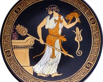 Greek pottery. Replica. Dionysus with thyrsus and panther. Ornamental plate. Hand-painted pottery.