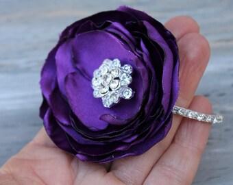 Wrist Corsage Purple Wedding  Corsage Mothers  Corsage Satin Corsage Prom Corsage Flower Corsage Wristlet Corsage Wedding  Purple Corsage