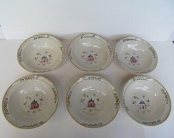 Vintage International China Stone Ware  Soup  - Salad - Cereal  Bowls  - set of 6