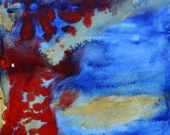 Original Red Blue Gold Abstract Painting Watercolor Painting