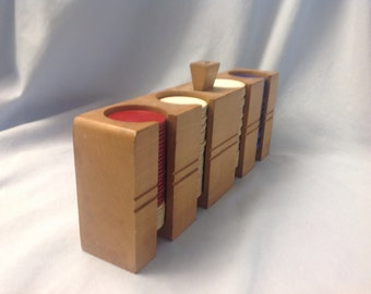 Vintage wood poker chip holder, poker chip caddy, poker holder with chips, horseshoe poker chips