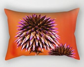 Orange Rectangle Pillow, Orange Pillow, Purplr Thorns Rectangular Pillow with Insert, Rectangular Throw Pillows, Decorative Pillows