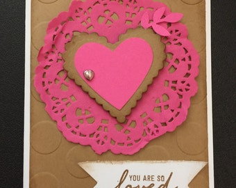"""Stampin up Card Kit Set of 4 Any Occasion/Valentines Pink """"You are so Loved"""""""